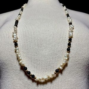 Vintage French Jet Iridescent Pearl Bead Necklace